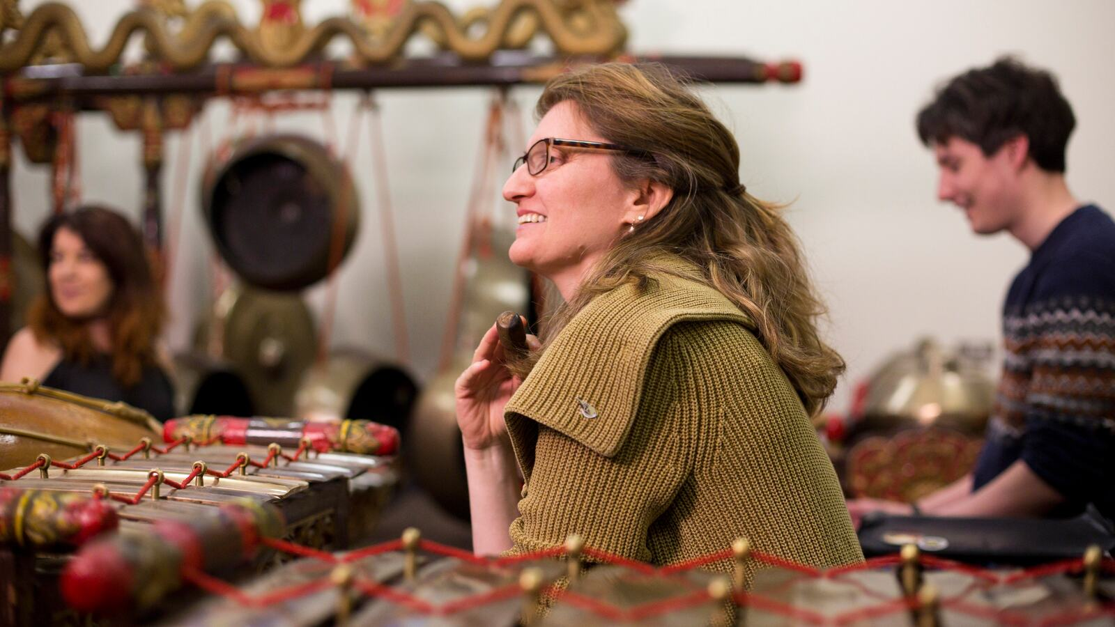 Adult group playing Gamelan