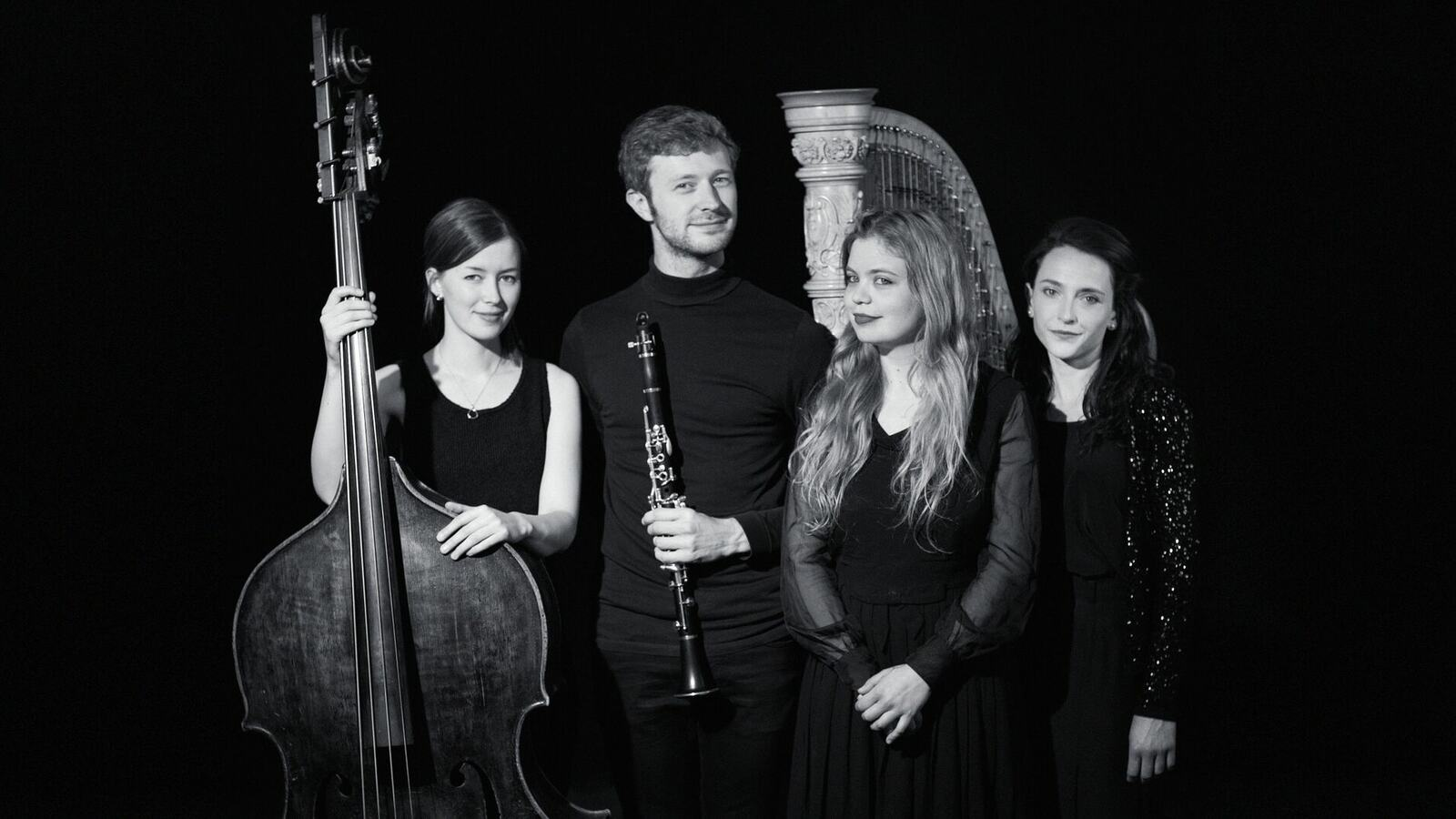 Musicians with double base, clarinet and harp