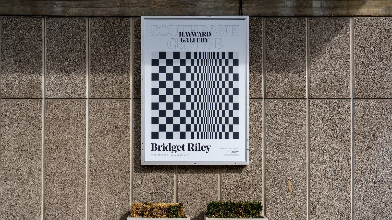 View of a Bridget Riley poster outside Hayward Gallery