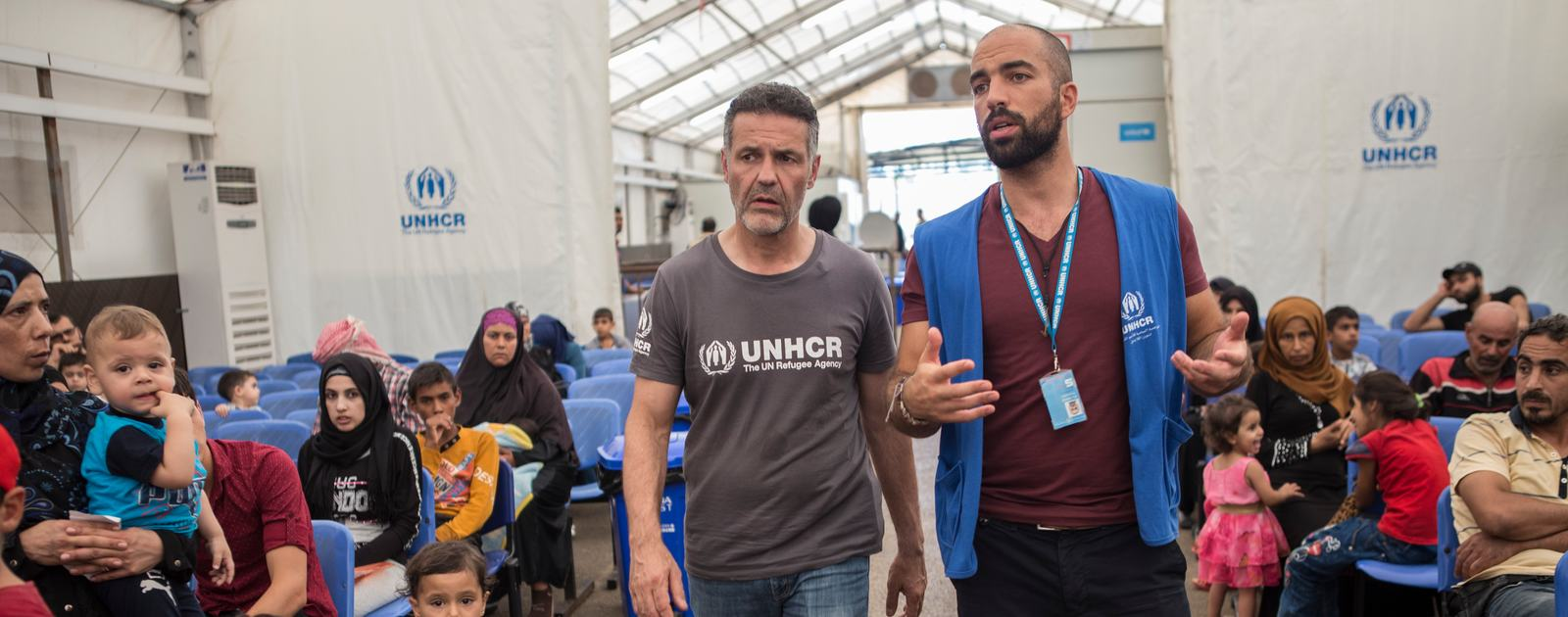 Author and UNHCR Goodwill Ambassador Khaled Hosseini is shown around the UNHCR Reception Centre in Tripoli, North Lebanon
