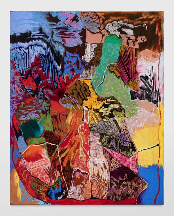 Rachel Jones, lick your teeth, they so clutch, 2021 Oil pastel and oil stick on canvas, 250 x 160 cm