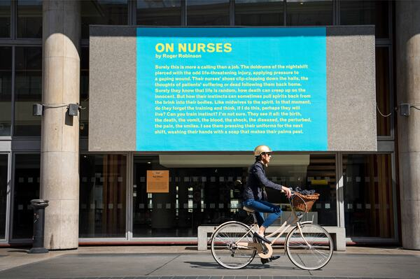 Installation view of Roger Robinson's 'On Nurses' at Southbank Centre's Everyday Heroes, on until 7 November 2020. Copyright the artist. Photo credit_ Linda Nylind (2)