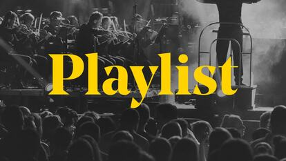 The word 'playlist' over the top of a black and white image of a conductor silhouetted by a bright light display