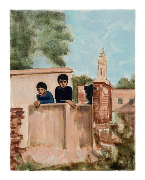 Matthew Krishanu, Two Boys (Church Tower), 2020 Oil on canvas, 45 x 35 cm. The artist (2021). Photo Peter Mallet