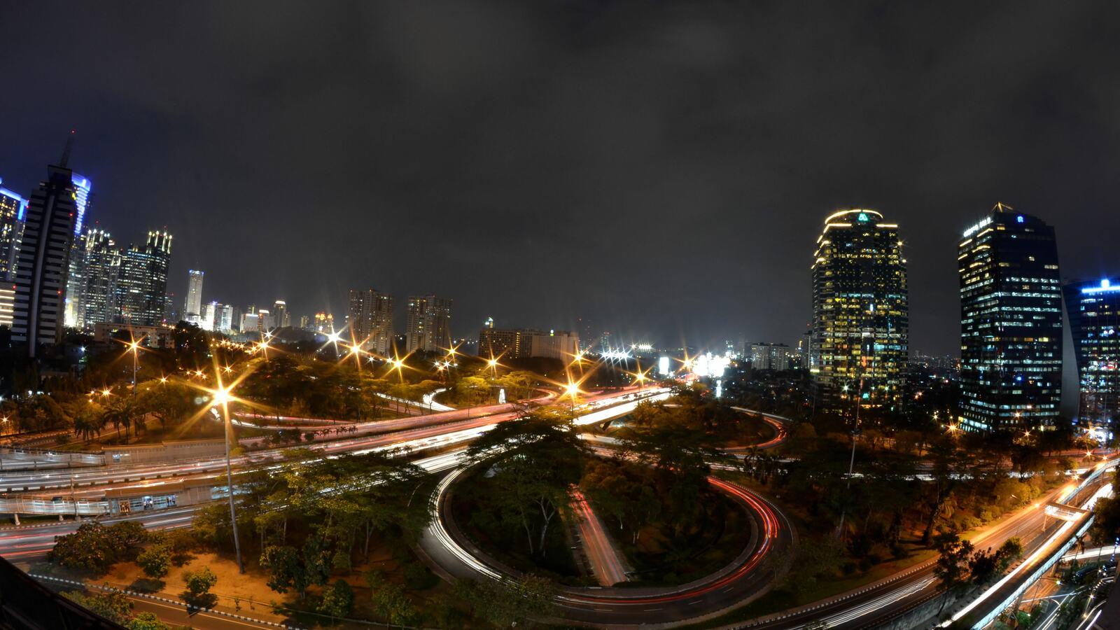 Night photo of  Simpang Semanggi, Jakarta