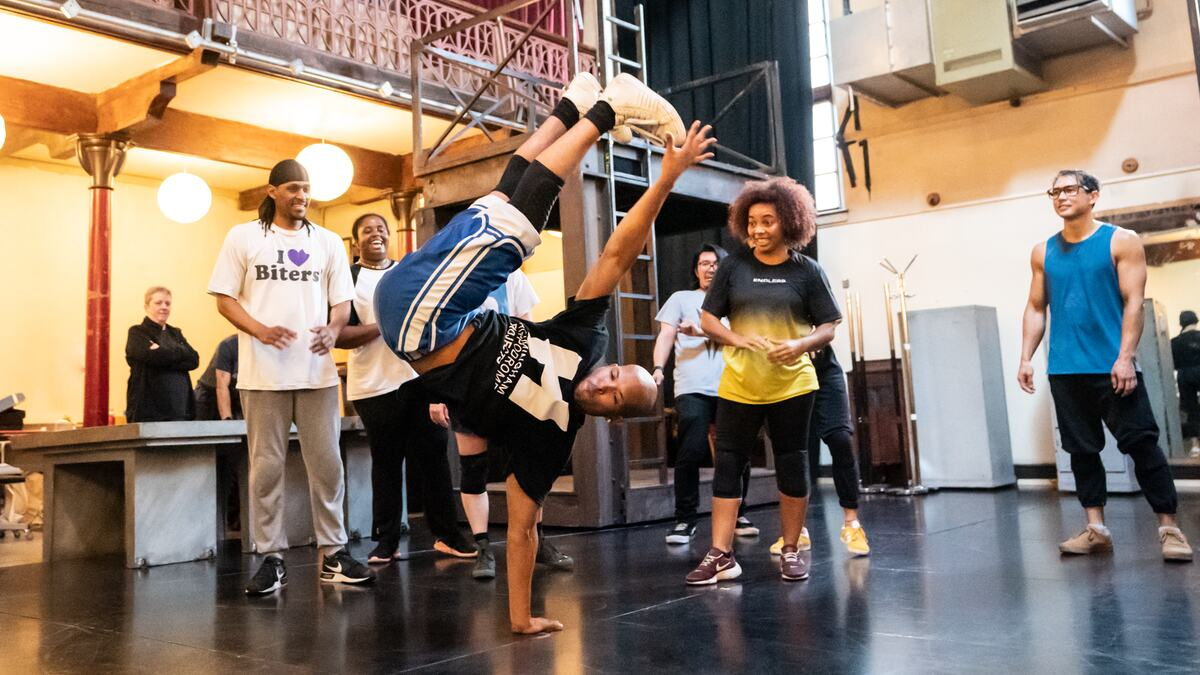 Performers at ZooNation breakdancing