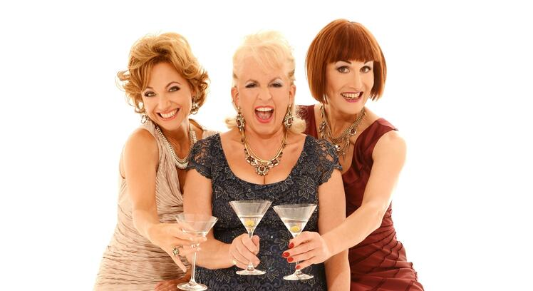 Liza Pulman, Dillie Keane and Adèle Anderson  holding  martini glasses