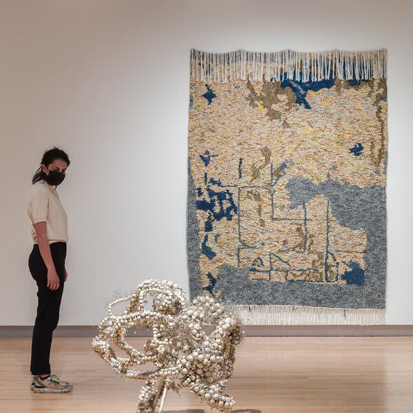 Installation view of Igshaan Adams Kicking Dust at Hayward Gallery, 2021 © Igshaan Adams, 2021. Photo Mark Blower