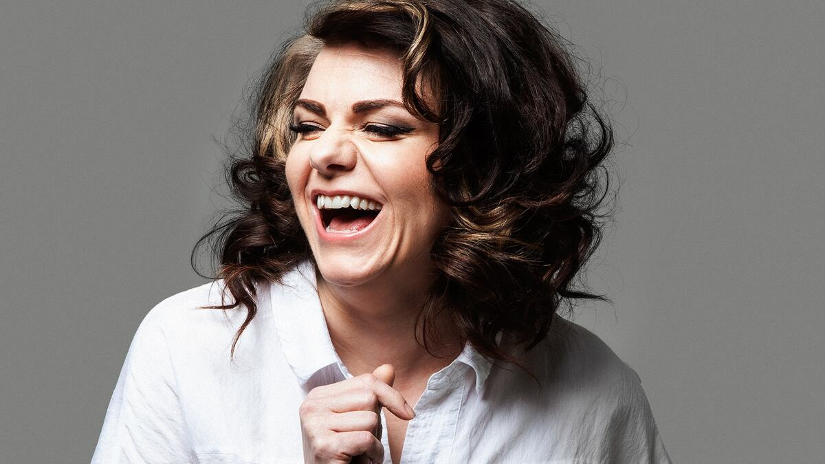 Author Caitlin Moran, laughing