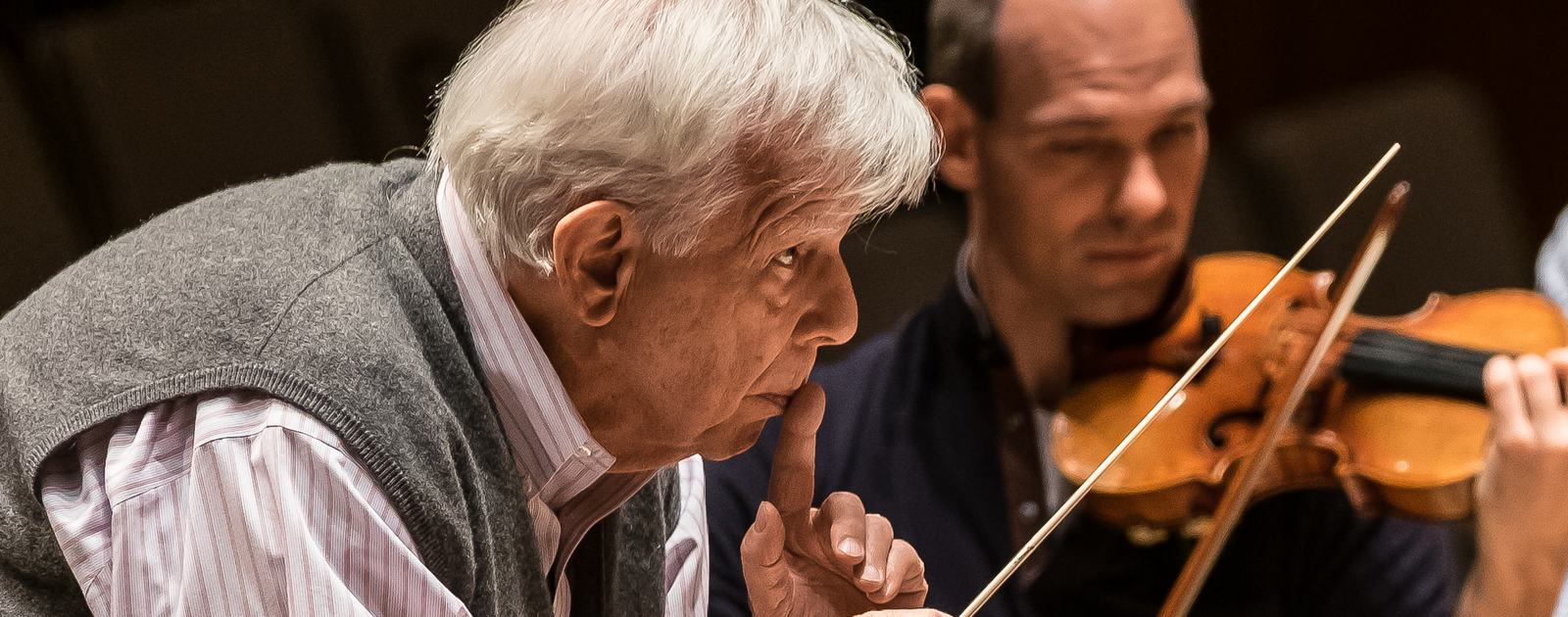 Christoph von Dohnányi - conductor;.Carolin Widmann - violin;.Philharmonia Orchestra; .Royal Festival Hall;.London, UK;.1 October 2015;..Berg violin concerto;.Schubert Symphony No 9 in C major;..Credit: © CLIVE BARDA/ ArenaPAL;