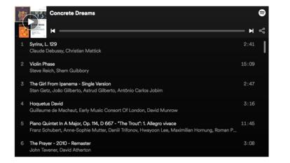 Screenshot of the Concrete Dreams playlist
