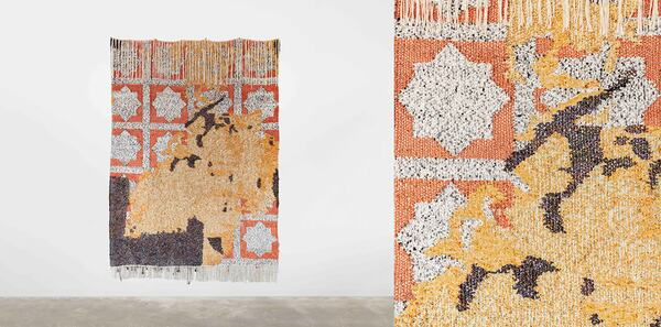 Igshaan Adams, Oor die Drimpel, 2020. Beads, rope, cotton twine, wire, fabric 260 x 185cm Photo credit: Mario Todeschini ©Igshaan Adams Courtesy of the artist and Casey Kaplan, New York