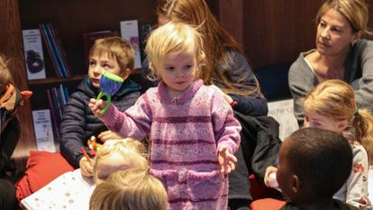 Child enjoying Rug Rhymes at Southbank Centre