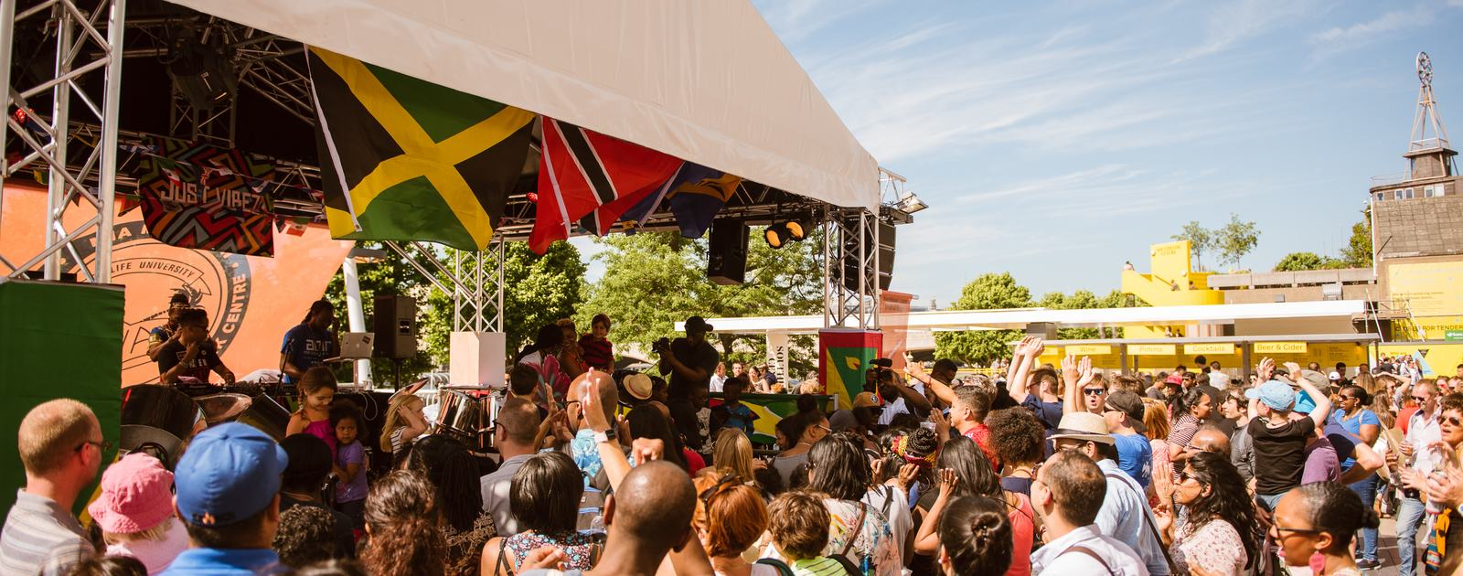 Crowds on Riverside Terrace for Just Vibez Carnival at M.I.A.'s Meltdown