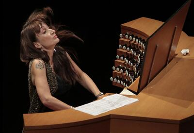 Carol Williams playing the organ