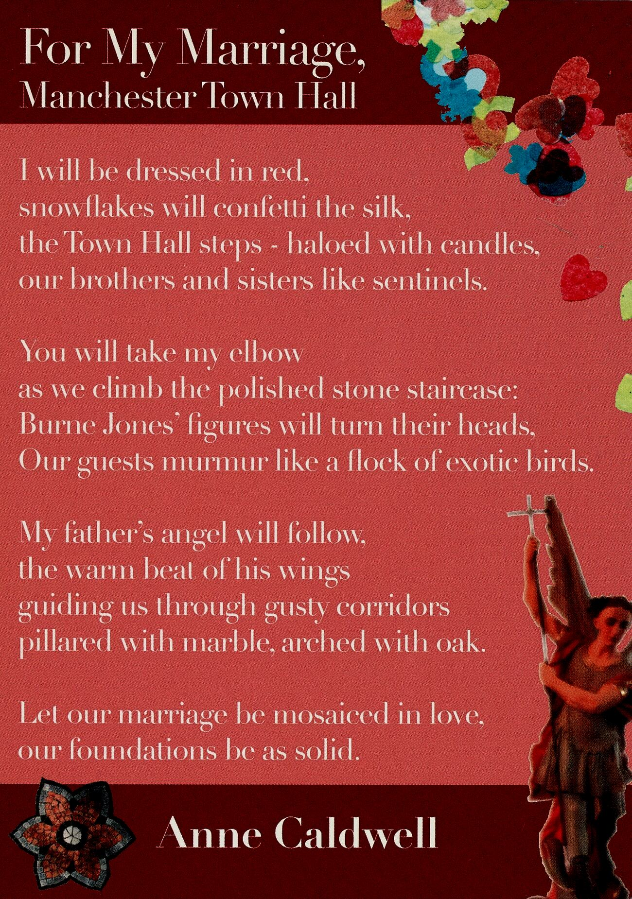 For My Marriage Manchester Town Hall National Poetry Library