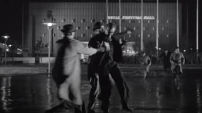 Still from the 1956 film The Long Arm, the conclusion of which takes place outside Royal Festival Hall