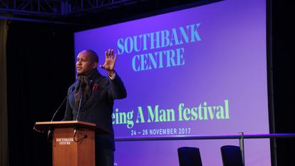 Kevin Powell speaking at Being a Man festival