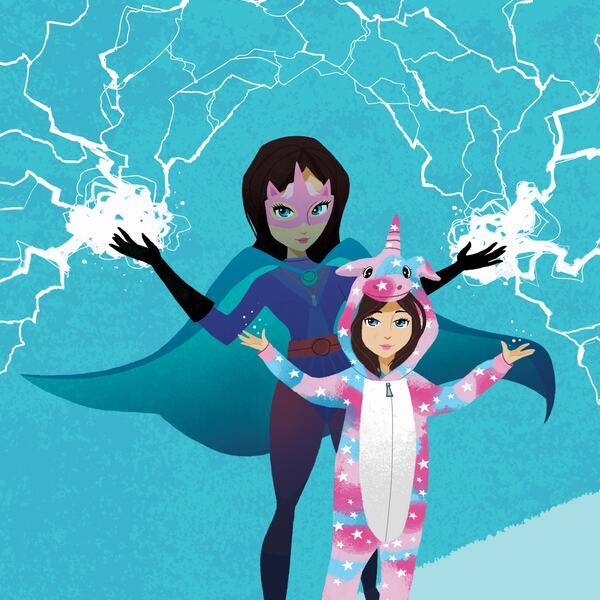 Illustration of superhero and a little girl in a unicorn onesie