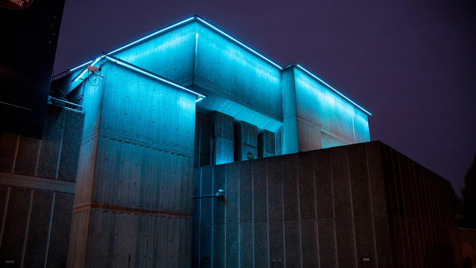David Batchelor's Sixty Minute Spectrum Redux installation illuminates the Southbank Centre at night