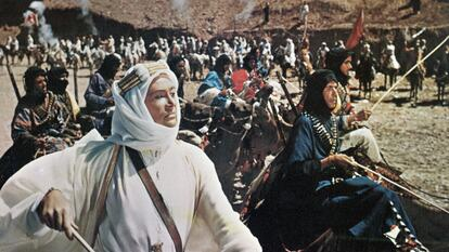 Peter O'Toole in the title role of Lawrence of Arabia a 1962 film based on the life of T. E. Lawrence