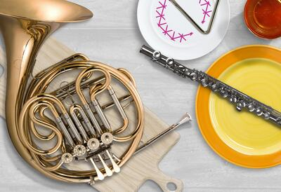 Music Instruments on plates
