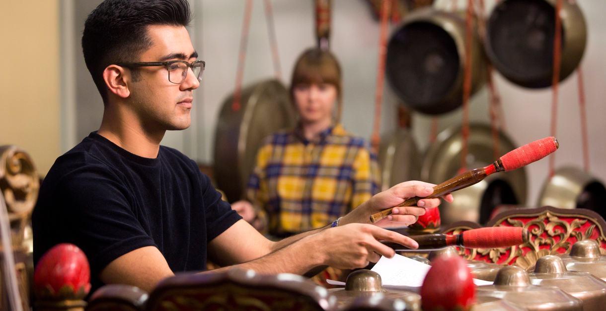 A man playing Gamelan