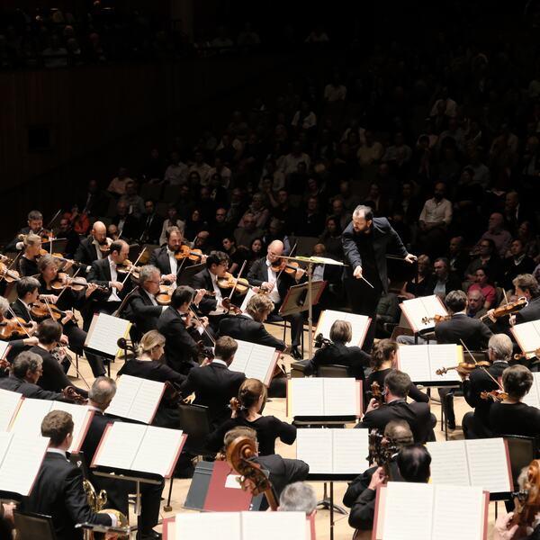 Leipzig Gewandhaus Orchestra performing on stage
