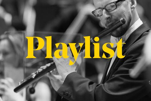 The word 'playlist' over the top of a black and white image of an orchestra flautist