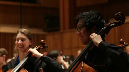 Two members of Philharmonic Orchestra performing a cello duet