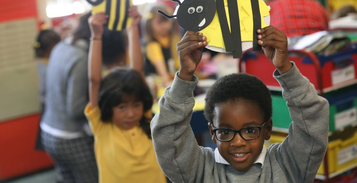 London, United Kingdom - Monday 11 September 2017, Book Trust - Reading of the  Time to Read book The Bumblebear from the author, Nadia Shireen to reception class at Reay Primary School.