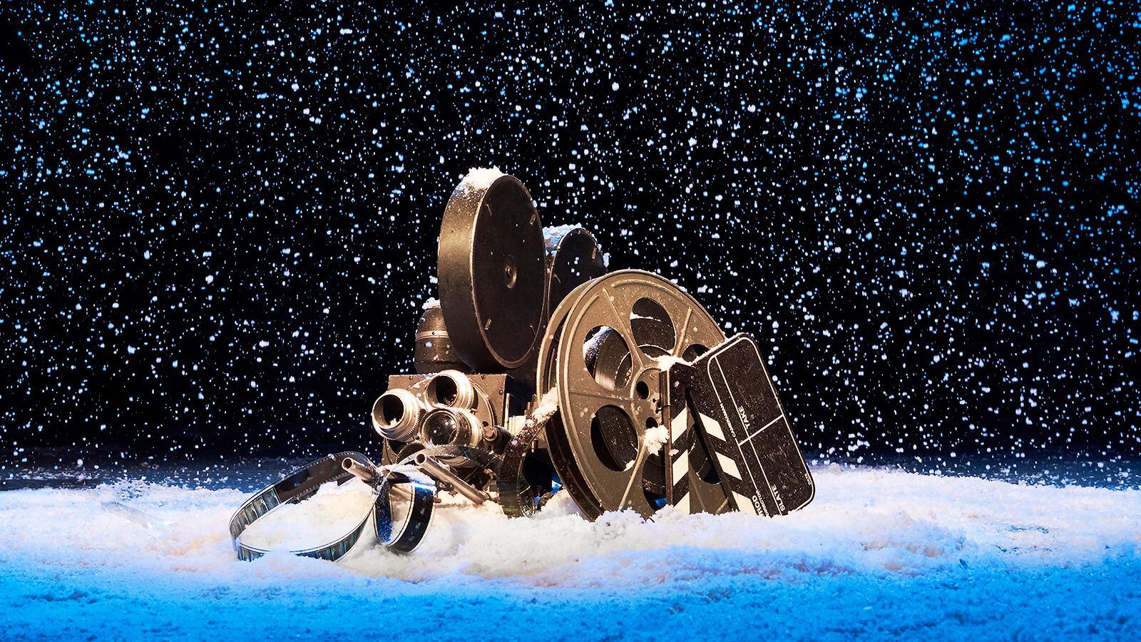 A reel of film sitting in snow