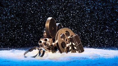 A reel of film sitting in snow
