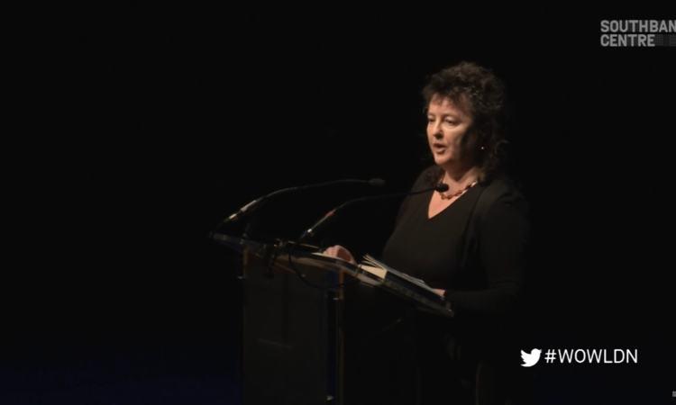 Still from video of Carol Ann Duffy talking at WOW 2014 | Laureates Night: Carol Ann Duffy