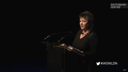 Still from video of Carol Ann Duffy talking at WOW 2014 | Laureates Night: Carol Ann Duffy