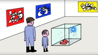 An animation of a farmer and his son in a contemporary art gallery. A still image from David Shrigley's animation, An Important Message About the Arts'