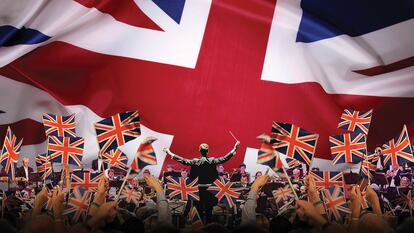 Last Night of Spring Proms audience and conductor with Union Jack flags