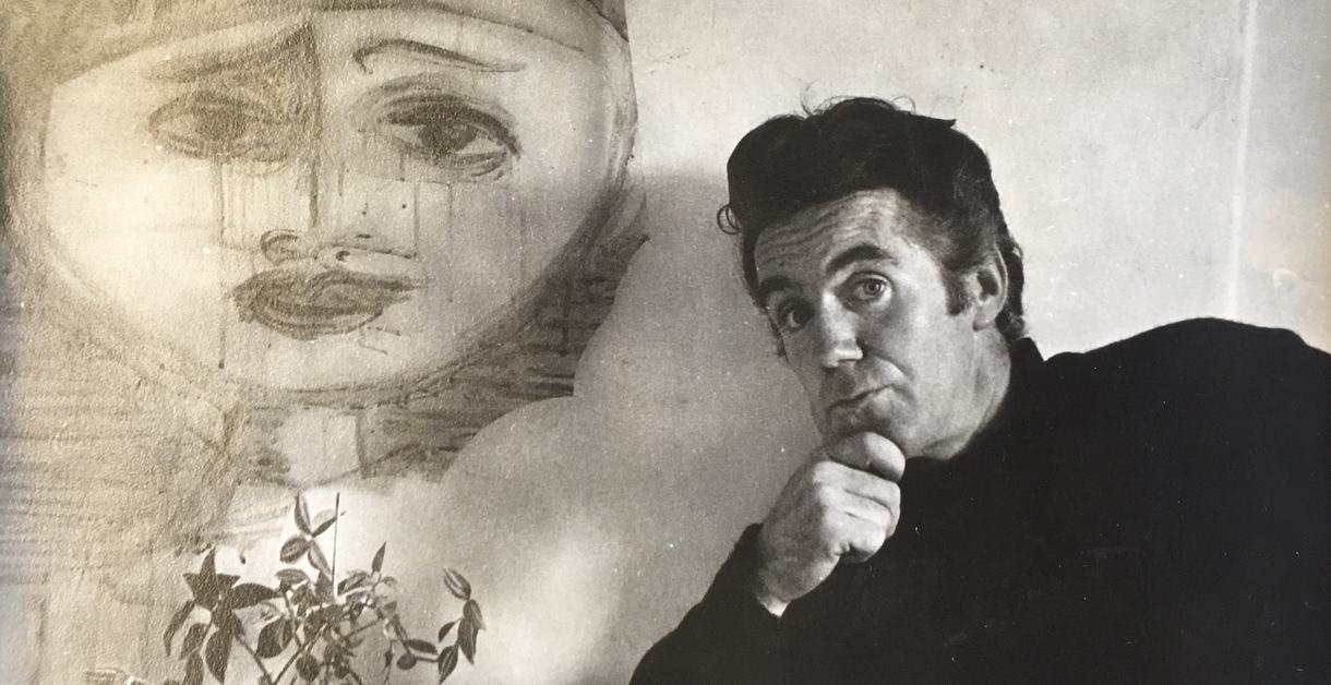 W.S. Graham photo with a painted face on the wall