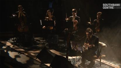 Still from video of Keaton Henson performing at James Lavelle's Meltdown, Southbank Centre, 2014
