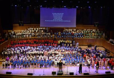 Young musicians performing in Royal Festival Hall