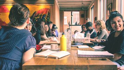 Workshop participants sat at a table