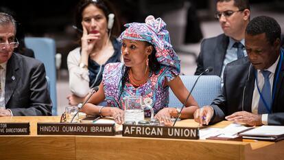Hindou Oumarou Ibrahim at a Security Council meeting