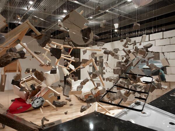 Installation of Bricks, Wood and Metal Debris by Los Carpinteros at Hayward Gallery