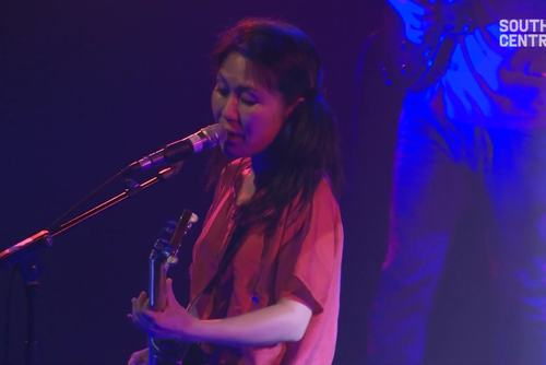 Still from video of Deerhoof performing at Yoko Ono's Meltdown, Southbank Centre, 2013