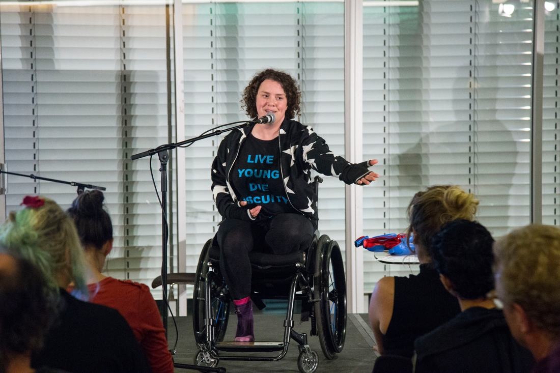 Jess Thom  Stand Up Sit Down Roll Over Performance supported by Ted Shiress 2016 credit India Roper-Evans